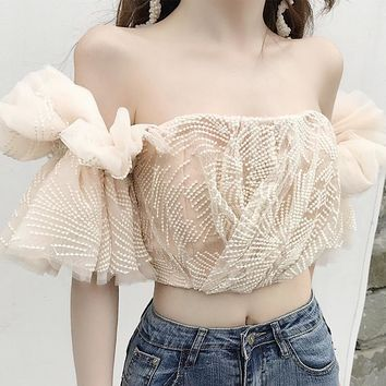 Off-Shoulder Victorian Embroidered Crop Top