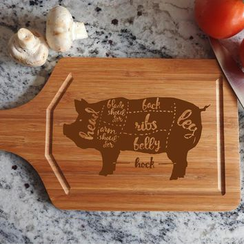 ikb323 Personalized Cutting Board Wood pig pork butchering meat restaurant kitchen