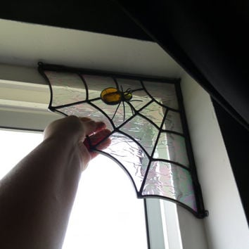 Stained Glass Spider Web Door Corners, Window Transom, Porch Corners, Halloween Decoration, Right or Left Corner, Entryway Decoration