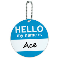 Ace Hello My Name Is Round ID Card Luggage Tag
