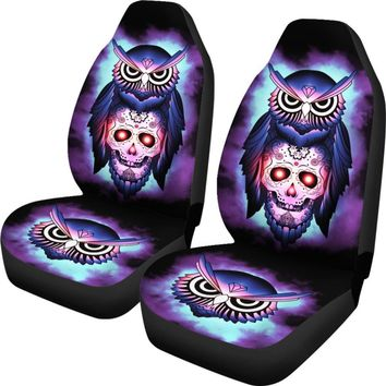 Owl & Skull Car Seat Covers - Purple Owl & Skull Universal Fit Car Seat Covers