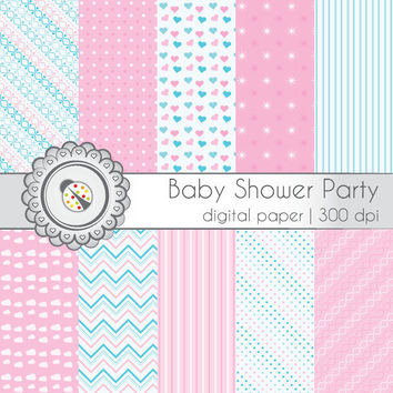 Digital Scrapbooking Paper Pack - Baby Shower Party - 12x12 in., 300dpi, JPG, Download, Personal Use, ES0027