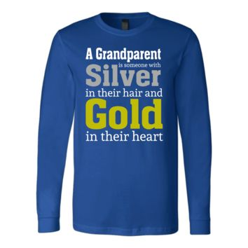 """""""Silver and Gold"""" Grandparent Men's Long Sleeve T-Shirts"""