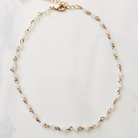opal stone beads chokers necklaces for women jewelry gold color chain necklace  party gift-03130