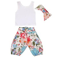 Newborn Baby Girls Clothing Infant Baby Girls Pure Color Cotton Tops +Floral Long Pants Clothes Outfits