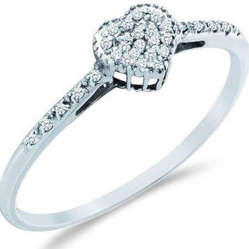 Sonia Jewels Size -4-13-14k White Gold Heart Love Shape Center Pave Setting Round Cut Ladies Diamond Engagement Cocktail Ring Band 6mm (.07 cttw)
