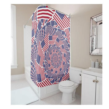 American flag shower curtain bathroom curtain curtain waterproof mold [11550526031]