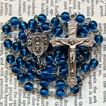 Miraculous Medal Rosary - Angel, Immaculate Conception, Aqua Blue, Preciosa Czech Glass 6mm Bead