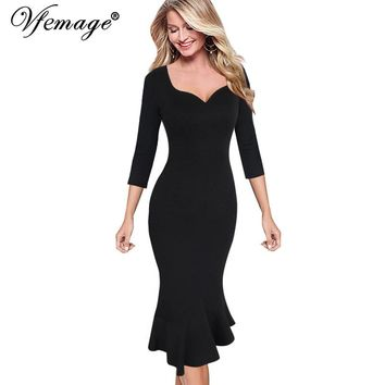 Vfemage Womens Sexy Elegant Vintage Pinup Cocktail Party Stretch Bodycon Fitted Mermaid Fishtail Midi Mid-Calf Pencil Dress 8900