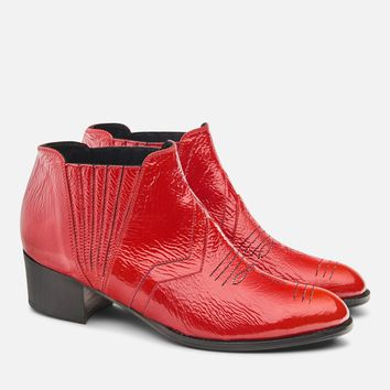 RED PATENT DOLLY BOOTIE