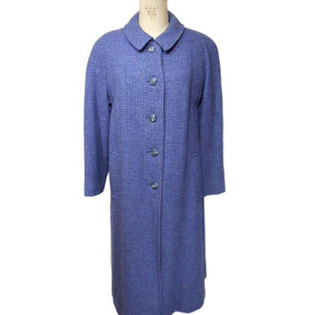 vintage 1980s HARRIS TWEED coat / purple blue gray / heavy wool coat / winter coat / 80s coat / women's vintage coat / size large