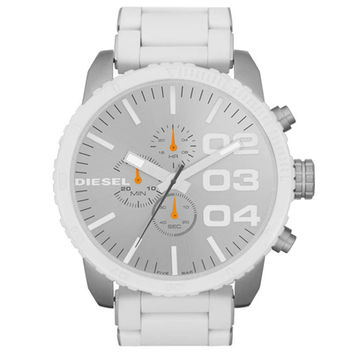 Diesel DZ4253 Men's Advanced Silver Dial White Rubber & Stainless Steel Bracelet Chronograph Watch