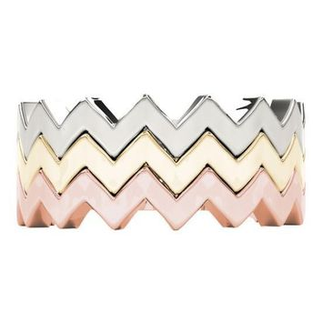 Stackables 3/4 Eternity Tri-Tone Gold Modern Shank 3-Band Set