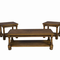 Rustic Pine Plank Top Coffee Table Set by Serta Furniture