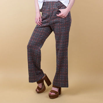 70's plaid trouser pants / high waist geometric plaid bell bottoms / wide leg flare pants / muted minimalist grey Vintage 1970s petite tiny