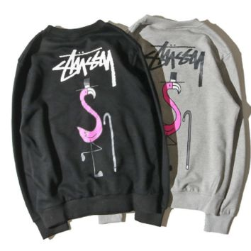 stu flamingo terry material crew neck sweater men and women with the thin section