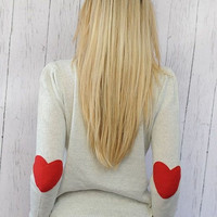 Heart Elbow Patch Sweater I Wear My Heart on My Sleeve Sweater with RED Felt Heart Patches MEDIUM Valentine's Day Clothing