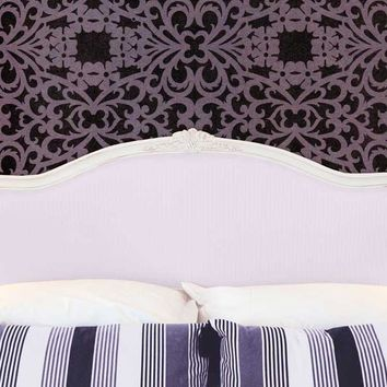 Bed Headboard with Pillows and Mauve Damask Wall Printed Backdrop - 6242