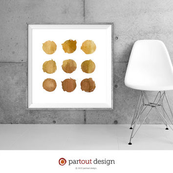 9 Circle Printable Art Gold art prints Minimalist Art Print Modernist Wall Art Instant download art printable watercolor prints art prints