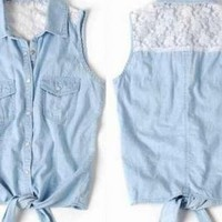 Lace Sleeveless Denim Blue Vest Shirt