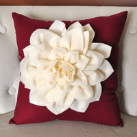 Shabby Chic Dahlia Felt Flower Decorative Pillow by bedbuggs