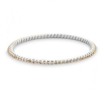 Two Tone Fashion Bangle Bracelet with Clear Crystal and White Thread Wrap