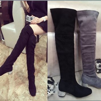 Hot Deal On Sale Slim Stretch With Heel Boots [120849694745]
