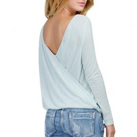 Chic Cut-Out Back Surplice Tee - OASAP.com
