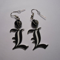 L Death Note earrings by MyBoxcreations on Etsy