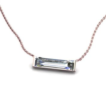 14K Rose Gold Horizontal Crystal Baguette Necklace