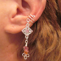 Cartilage Ear Cuff Pink Princess Pinks and Silver Tone Dangle No Piercing Prom