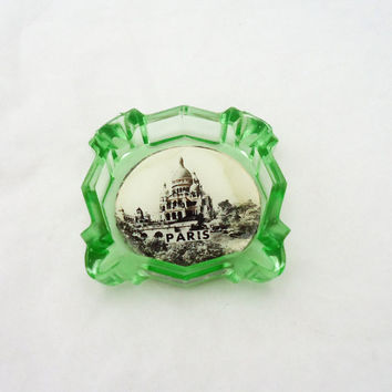 Vintage Green Depression Glass Ashtray, Vintage Advertizing Ashtray, Ashtray with Photo of Paris