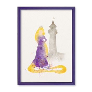 Rapunzel Princess Tower FRAMED Watercolor print Disney Rapunzel Watercolor Illustration poster Kids art Nursery Giclee Print Fine Art