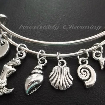 Beach, mermaid, seashells, seahorse Stainless Steel Expandable Bangle, monogram personalized item No.519