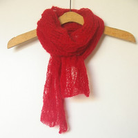 Red knit long scarf mohair. Handknit. Accessory women. Lace knitting