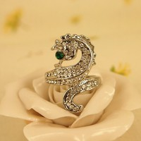 High Quality Fashion Alloy Costume Jewellery Ring For Women Ocean Seahorse Full Rhinestone Ring US 6 Silver
