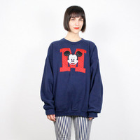 Vintage Mickey Mouse Sweatshirt Navy Blue Embroidered M University College Sweatshirt Sweater Jumper Red White Blue Disney L XL Extra Large
