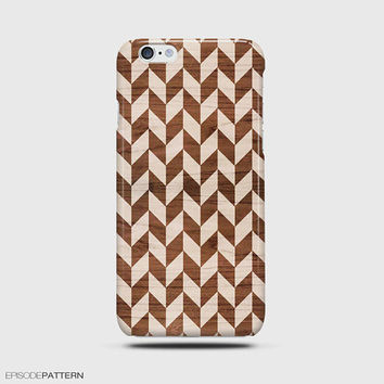 iPhone 6 Case Houndstooth Chevron Pattern Wood
