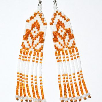 Ukrainian hand-made bead earrings. Gold