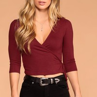 Iris Burgundy Cross Over Tie Front Top