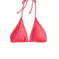 AEO Women's Textured Triangle Bikini Top (Pink Boom)