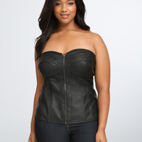 Zipper Front Corset Top
