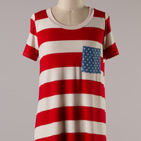 American Flag Short Sleeve Top