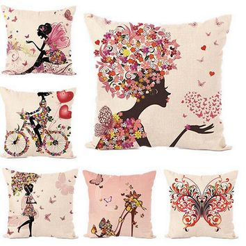 Fairy tales style Flower fairy hot printed linen decorative pillow covers 45*45cm butterfly girls throw pillowcase for Home