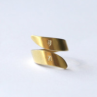 adjustable brass mens ring, hand stamped initial ring, personalized initial ring, Custom stamped ring, gift for boyfriend Men Wedding band