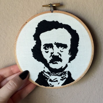 Edgar Allan Poe hand embroidery, face portrait silhouette, 5 inch hoop