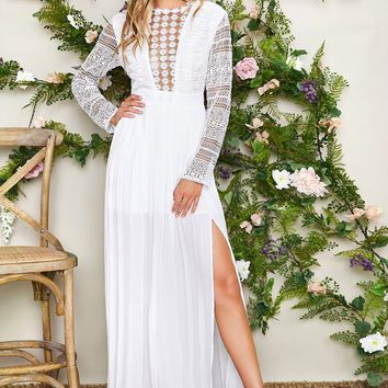 Sheer Lace Bodice Split Thigh Pleated White Dress