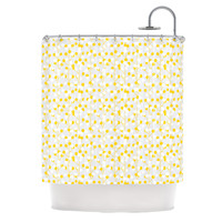 "Julie Hamilton ""Lemon Drop"" Yellow Gray Shower Curtain"