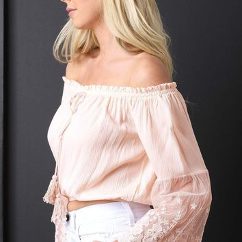 Off-The-Shoulder Lace Bell Sleeves Peasant Crop Top