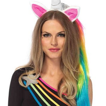 Magical unicorn headband with rainbow wig mane in MULTICOLOR